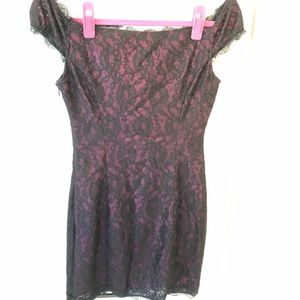 GUESS lace black and burgundy dress NWOT